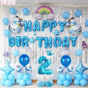 Huiran 2nd Happy Birthday Balloons 2 Birthday Party Decor Kids Girl Boy Two Year Birthday Latex Baloon Number Ballon Babyshower