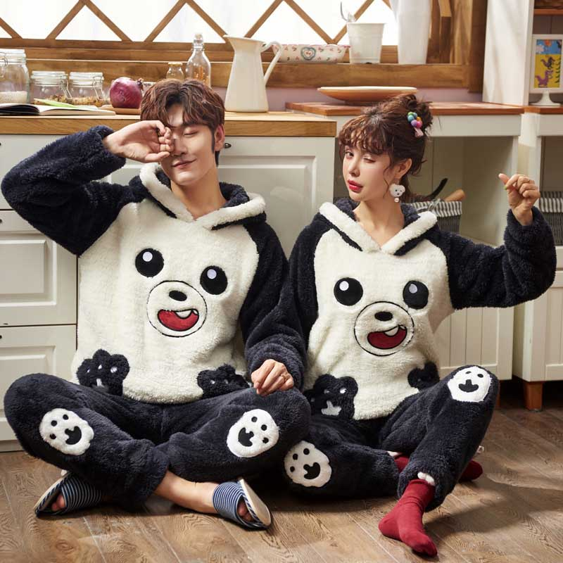2019 Unisex Pajamas Thick Flannel Cute Winter Warm Soft Couple Pajama Set Long Sleeve Full Trousers Two Piece Homewear Nightwear