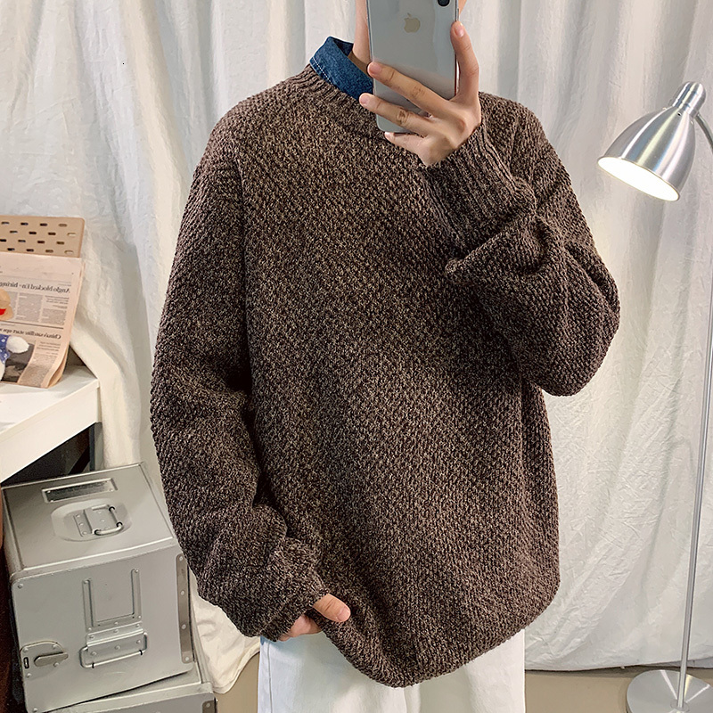 Winter Thick Sweater Men Warm Fashion Casual O-neck Knitted Pullover Mens Loose Knitting Sweaters Male Sweter Clothes M-3XL