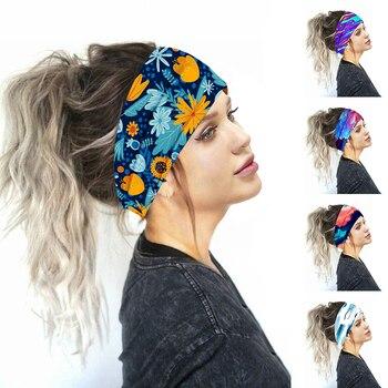 2020 Fashion Women Head Wrap Wide Cotton Stretch Headband Girls Headwear Turban Sports Print Sports