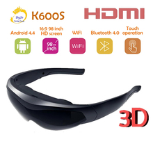 K600S Neue 3D smart brille video brille Android 4,4 Bluetooth 98 zoll virtual display HDMI wireless touch