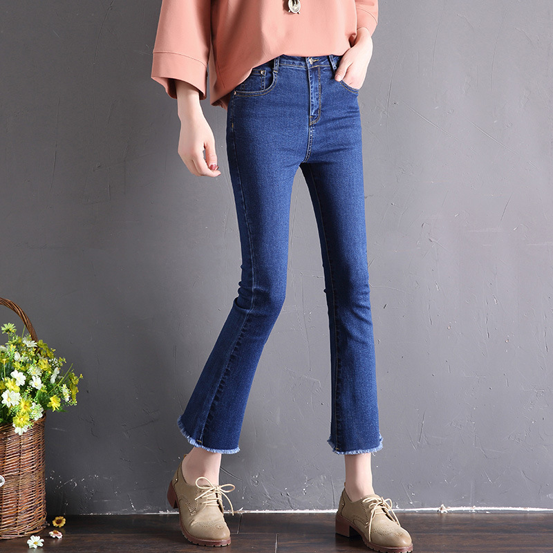 High Quality Photo Shoot Autumn Clothing New Style Slimming High-waisted Elasticity Jeans Women's Large Size Korean-style Casual