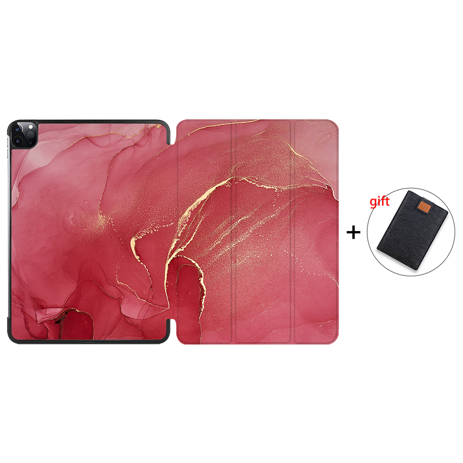 IP08 Purple MTT 2020 Marble Tablet Case For iPad Pro 11 inch A2228 A2231 PU Leather Magnetic Fold