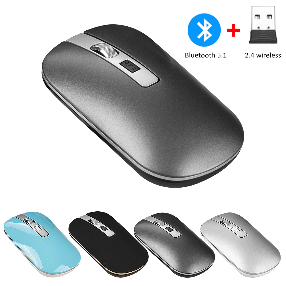 2.4G Wireless Computer Mouse Rechargeable Mice For Laptop Notebook Ultra Thin Optical Mouse With USB Receiver Air Mouse