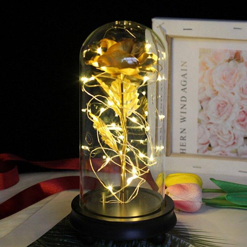 Красота и чудовище вечный цветок розы в фляге свадебное украшение Искусственные цветы в стеклянной крышке на День Святого Валентина подарок - Цвет: Gold