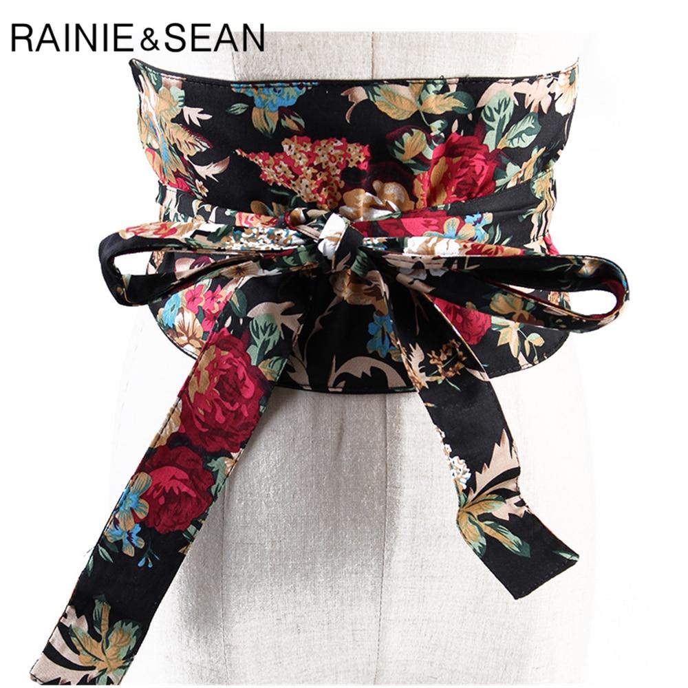 RAINIE SEAN Japanese Kimono Belt For Women Flower Print Extra Wide Belt Female Self-tie Bow Vintage Ladies Wide Belt Cummerbund