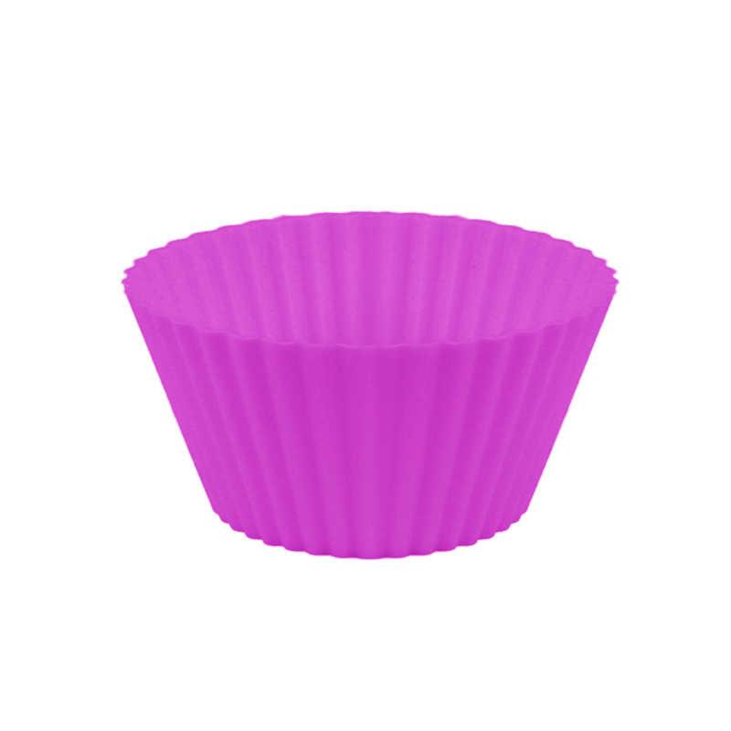 فناجين الخبز الملونة بطانة قوالب مخبوزة شكل دائري قالب كب كيك سيليكون صانع قالب صينية لتقوم بها بنفسك أدوات تزيين الكعكة