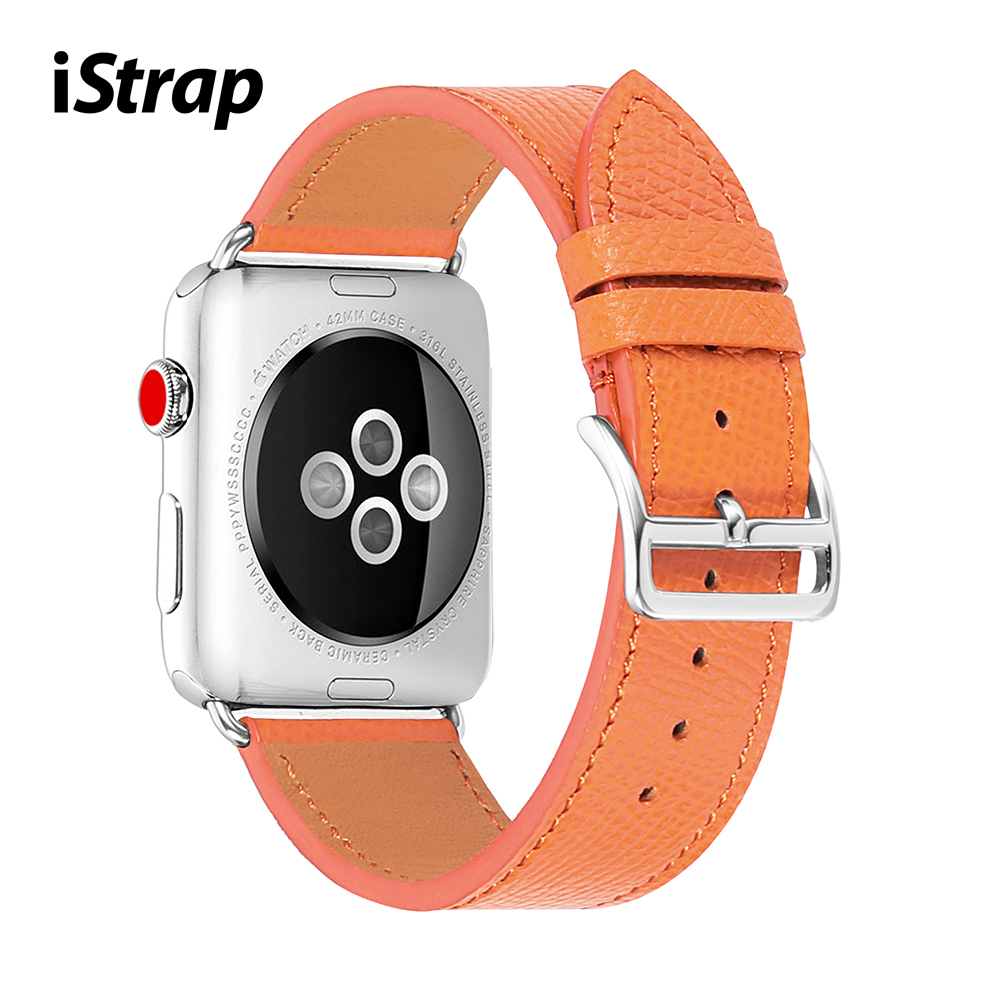 iStrap Leather Watchband for Apple <font><b>Watch</b></font> Band Series 5/4/3/2/1 Orange Sport Bracelet 42 <font><b>mm</b></font> 38 <font><b>mm</b></font> <font><b>Strap</b></font> For iwatch 4 Band image