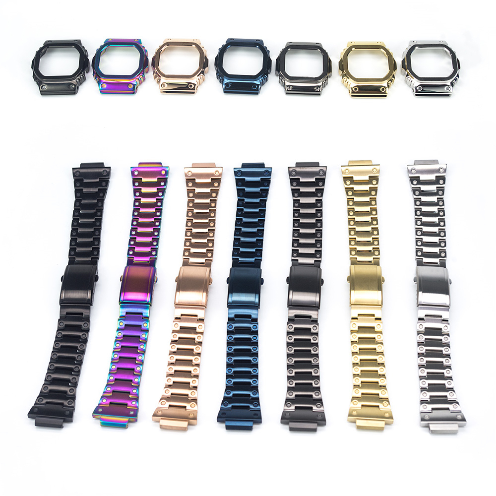 Watchband Bezel/Case Watch Set For DW5600 GW-M5610 Metal 316L Stainless Steel Watch Accessories