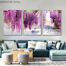 Purple Flower Tree Swan Lake Landscape Picture Scandinavian Scenery Nature Canvas Wall Art Print Painting Nordic Decoation
