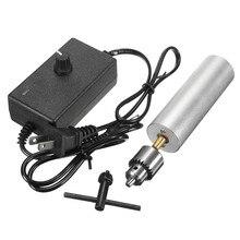 Mini broca elétrica manual, dc 6v 24v mini broca elétrica 385 dc motor com mandril jt0 velocidade ajustável ferramenta diy para placa de circuito de alumínio