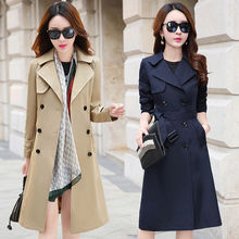 Spring Autumn Trench Coat Single Breasted Trench Coat Woman Trench Coat Long Women Windbreakers Trench Coat For Women Plus Size cheap WSRYXG CN(Origin) Spring Autumn Full Broadcloth Office Lady Polyester Button Pockets Spliced Patchwork Ages 18-35 Years Old
