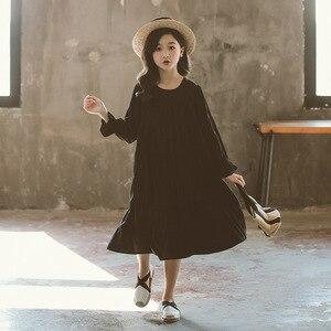 Image 1 - חדש 2020 בנות לבן שמלת כותנה Loose שמלת ילדי תינוק נסיכת ילדה שמלת ילדי בגדים קוריאני אישיות, #5341