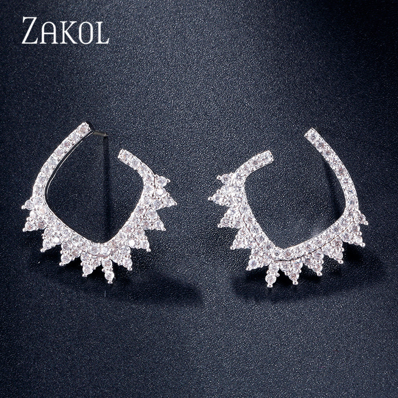 ZAKOL New Trendy Micro-inlaid Zirconia Crystal C-shaped Stud Earrings For Women 585 Gold Color Gift Jewelry FAEP083