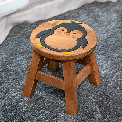 Thai Creative Solid Wood Children's Stool Cute Cartoon Animal Small Bench Home Pedestal Stool Wood Stool Low Stool
