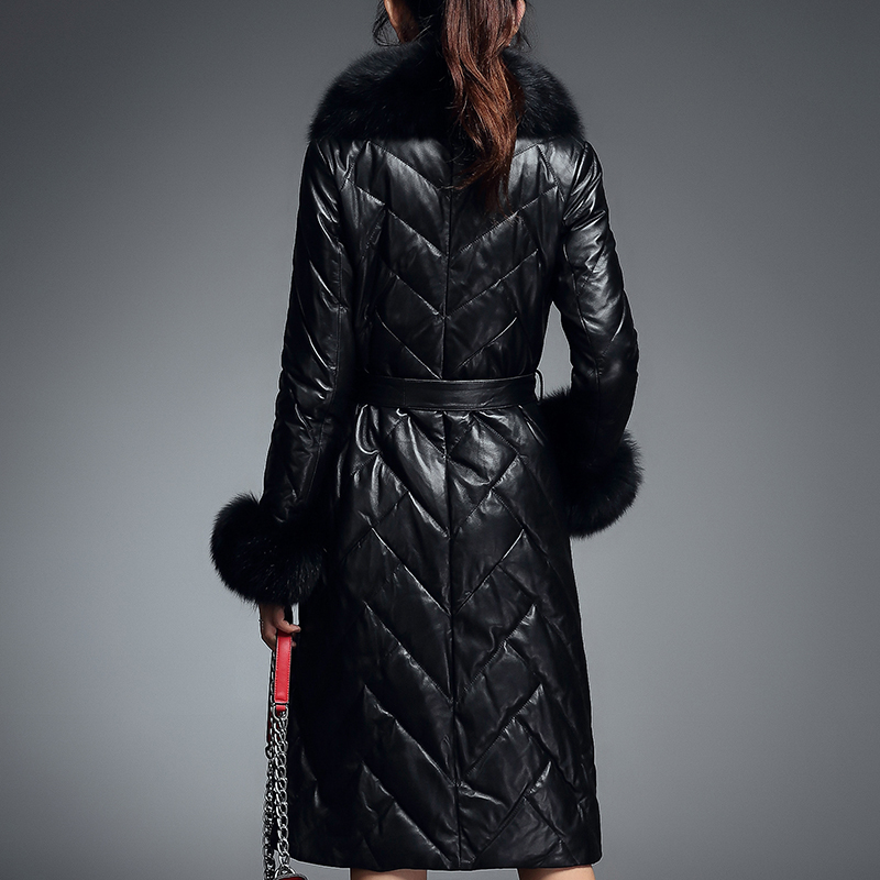 Genuine 2020 Leather Jacket Winter Jacket Women Real Fox Fur Collar Long Down Jackets For Women Sheepskin Coat MY4131 S
