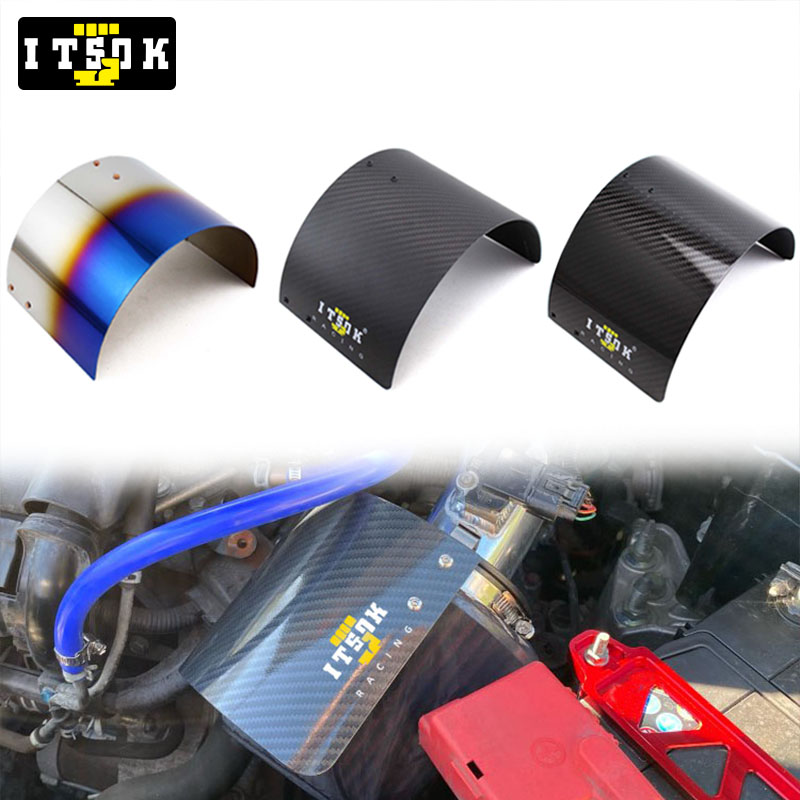 ITSOK Air Intake Filter Cover Heat Shield Real Carbon Fiber Stainless Steel Chrom Titanium Blue JDM Universal For 2.5''-5'' Neck