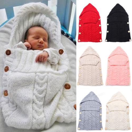 Newborn Infant Baby Boy Girl Blanket Knit Crochet Winter Warm Swaddle Wrap Sleeping Bag Solid Buttons