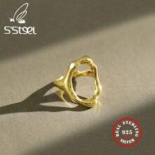 Женские Асимметричные полые кольца из серебра 925 пробы нержавеющей