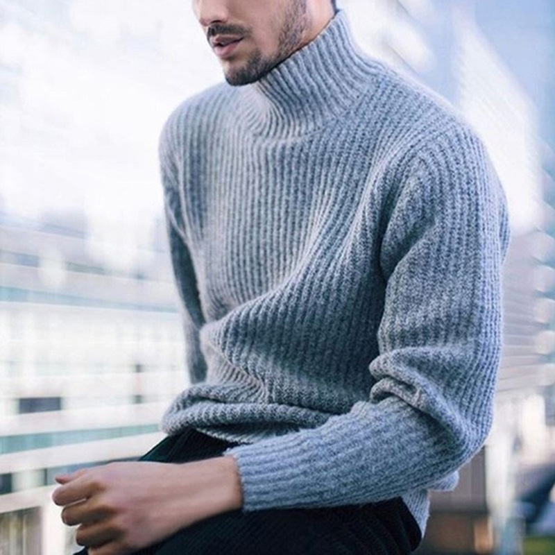 Men's Turtleneck Long Sleeve Sweater Autumn Fashion Knitted Pullover Thick Solid Simple Slim Fit Hedging Pull Homme Top Males