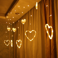 Hot Selling Heart Low Voltage LED Curtain Light Online Celebrity Wall Decoration LED String Lights GIRL'S Heart Romantic Ornamen