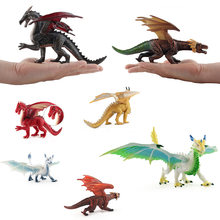 Jurassic parc dinosaure modèle jouets volant Dragon de glace Animal Action jouer Figure enfant Western Dragon jouet ensemble décorations de bureau(China)