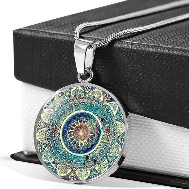 2019 trendy Om indie joga Mandala Choker naszyjnik Cabochon szklany wisiorek buddyzm Chakra biżuteria naszyjnik kobiety srebrny