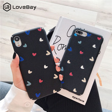 Lovebay Hard Phone Case For iphone XS Max XR X 6 6S 7 8 Plus Love Heart Pattern Plastic Full Cover Fashion Black Lovely Cases