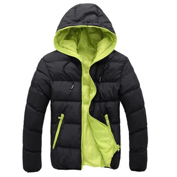 Men's Coat Winter Color Block Zipper Hooded Jacket Cotton Padded Coat Slim Fit Fashion Thicken Warm