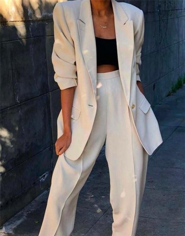Женский костюм, набор, весна и осень 2019, белый, с отворотом, тонкий, профессиональный, 2 предмета, костюм, женский брючный костюм, сделанный на