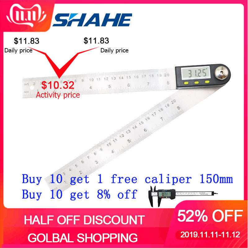 Digital Protractor Inclinometer Electron Goniometer Angle Ruler Stainless Steel Digital Level Measuring Tool