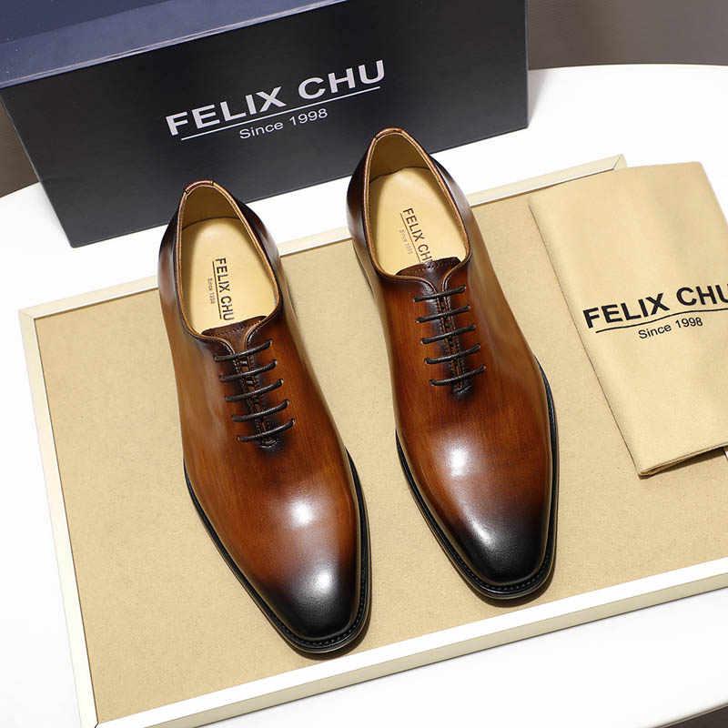 FELIX CHU Plain Toe Wholecut Oxford ของแท้รองเท้าหนังสีน้ำตาลสีดำมือวาดรองเท้าชายอย่างเป็นทางการรองเท้ารองเท้า