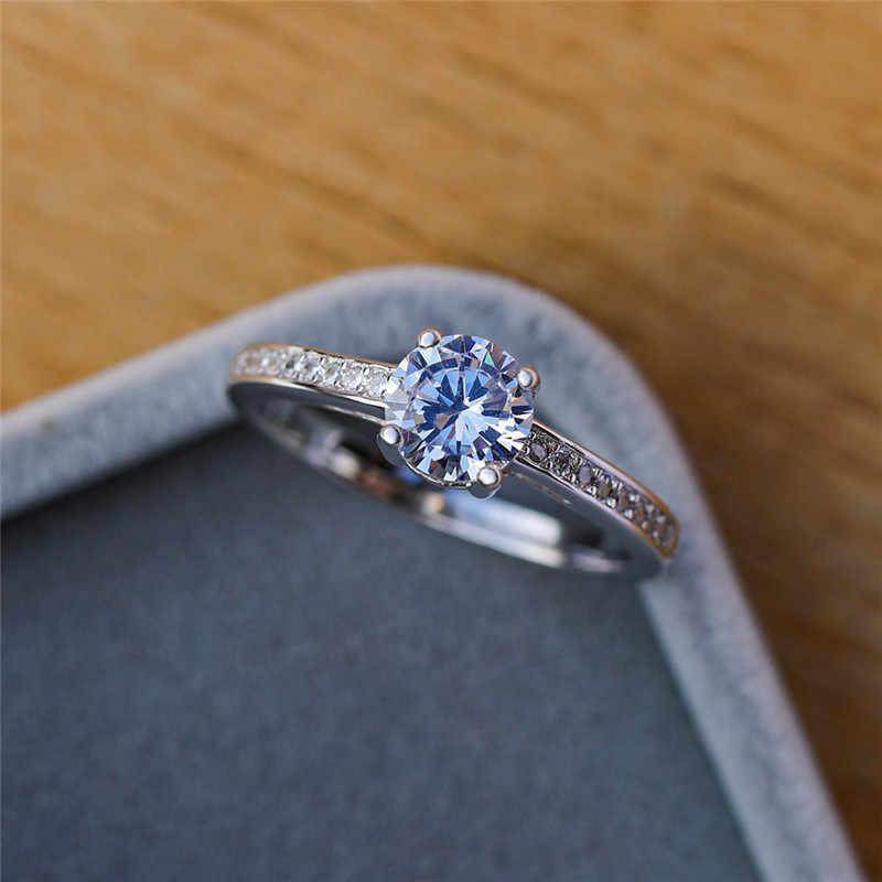 คลาสสิกสุภาพสตรี Lab เพชรหมั้นแหวนเงินแท้แหวน Vintage Love เจ้าสาวงานแต่งงานแหวน