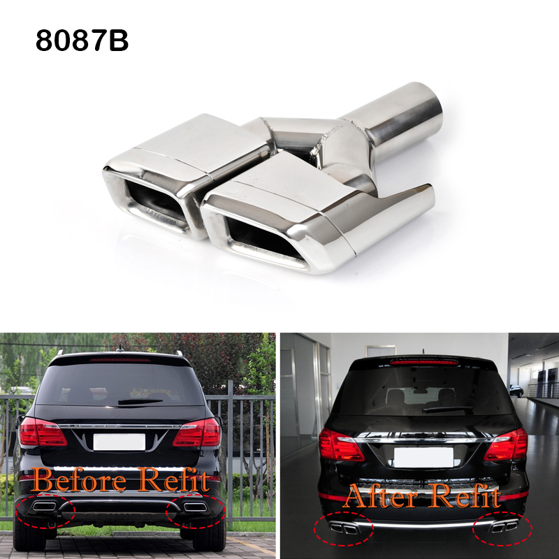 2PCS Stainless Tail Rear Exhaust Pipe Trim Cover For Mercedes-Benz CLA 2013-2015