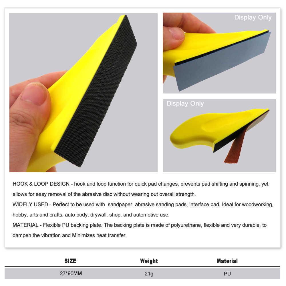 27X90Mm Tangan Amplas Blok Pengamplasan Disc Holder PU Busa Grinding Block untuk Polishing Kayu Furniture