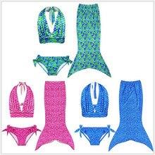 Комплект из 3 предметов; Новинка; детский купальный комплект с хвостом русалки для девочек; купальный костюм; Детский комплект бикини; купальный костюм