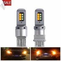2 pezzi LED per Auto Canbus indicatori di direzione S25 BAY15D T20 7443 T25 3157 per lampade da giorno DRL automatiche Cree SMD lampadine bicolore W21/5w diodo