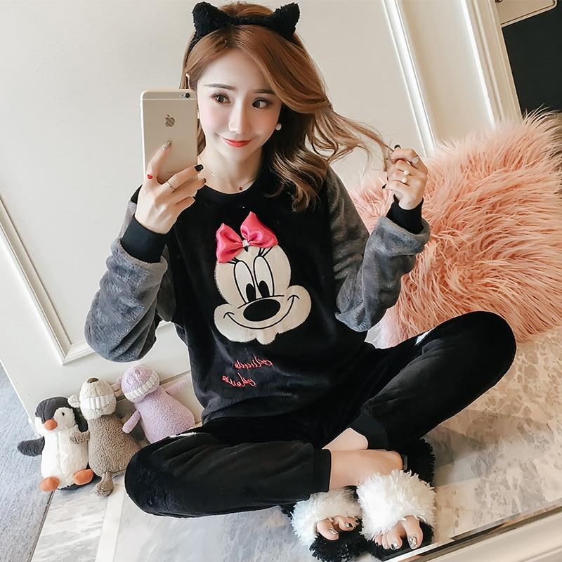 Korean Flannel Warm Pajamas For Women Long Sleeve Home Suit Ladies Sleepwear Cartoon Velvet Pajama Set Thick Feminino Pyjamas