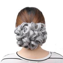 [DELICE] Gray Blonde Elastic Net Synthetic Curly Chignon With Two Plastic Combs Updo Cover Hair Bun For Women