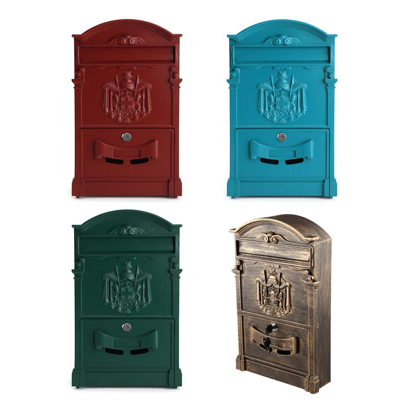 LOCKABLE SECURE POSTBOX LETTERBOX WALL MOUNTED STAINLESS MAIL POST LETTER BOX Model:Bronze