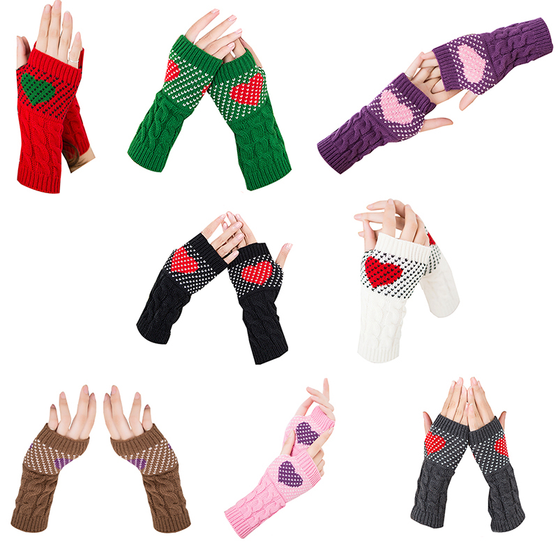 1 Pair Winter Heart Typing Half Gloves For Women Girls Arm Wrist Warmer Sleeves Mittens Holders Sweet Cute Female Gloves Guantes
