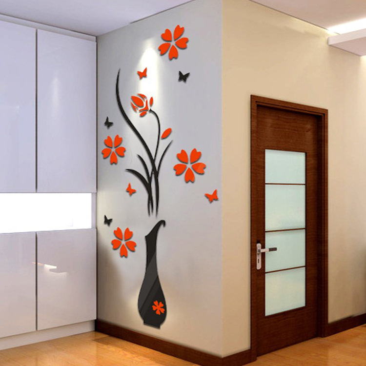 Wall Sticker PE Foam 3D Switch Stickers DIY Vase Flower Tree Crystal Arcylic 3D Wall Stickers Decal Home Decor Room Decoration