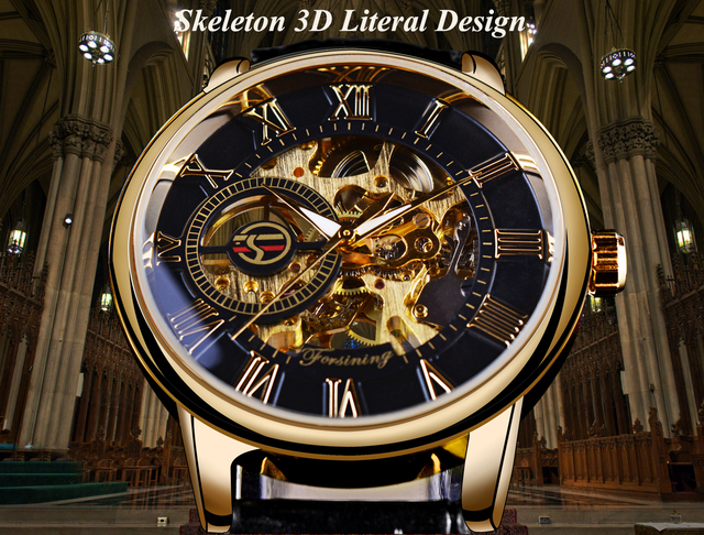 Forsining 3d Logo Design Hollow Engraving Black Gold Case Leather Skeleton Mechanical Watches Men Luxury Brand Heren Horloge 4