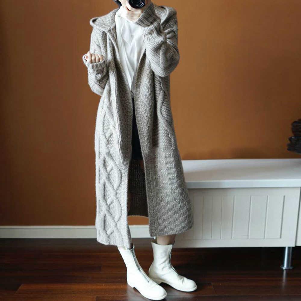 Inverno Coreano Boho Vintage Office Lady Casual Più Il Formato Delle Donne Allentato Lavorato A Maglia Cardigan di Spessore Con Cappuccio Pianura Grigio Cappotto Maglie E Maglioni