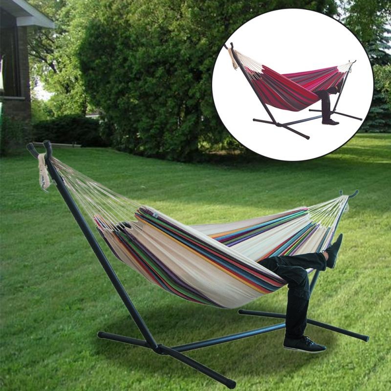 200x150cm Home Indoor Large Without Stand For Bedroom Thicken Widened Foldable Portable Garden Stripe Canvas Hammock Sleeping
