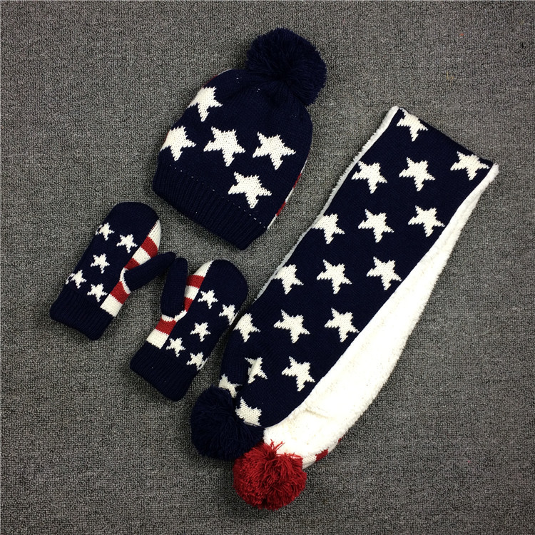 Thick Knit Flag Scarf Hat Gloves Unisex Kids Scarf Set Scarf Hat Gloves Sets Boys Girls Winter Hat Gloves And Scarf