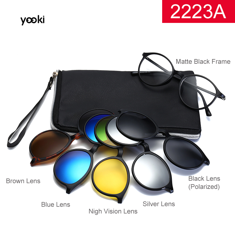 2020 New Polarized <font><b>Sunglasses</b></font> <font><b>Men</b></font> Women <font><b>5</b></font> <font><b>In</b></font> <font><b>1</b></font> <font><b>Magnetic</b></font> <font><b>Clip</b></font> <font><b>On</b></font> Glasses TR90 Optical Prescription Eyewear Frames Eyeglass image