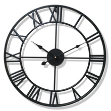 40/47 cm nordic metal numeral romano relógios de parede retro ferro redondo rosto preto ouro grande jardim ao ar livre relógio decoração casa