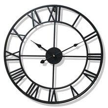 40/47CM נורדי מתכת רומי ספרה שעוני קיר רטרו ברזל עגול פנים שחור זהב גדול חיצוני גן שעון עיצוב הבית