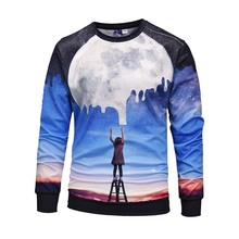 купить Fashion Sweatshirt for Men 2019 Autumn Long Sleeve Painted Starry Sky 3D Print Pullovers Fleece O-Neck Women Sweatshirt Outerwer дешево